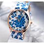 Reloj Geneva Platinum Correa Cuero Flores