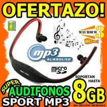 Wow Audifonos Mp3 Sport Recargable Soporta Hasta 8gb Microsd