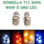 Bombillo Led Ba9s 5 T11 Smd Laser Alto Brillo Blanco El Par