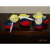 Escarpines Tricolor Venezuela Para Bebe Tejidos A Mano