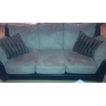 Sofa Cama Matrimonial 3 Puestos Tela Tipo Cuero Y Suede