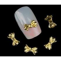 10 Apliques 3 D Dorados Lacitos Manicure Pedicure Belleza