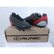 Zapatos Tacos Runic De Futbol Fusion Rojo Con Negro