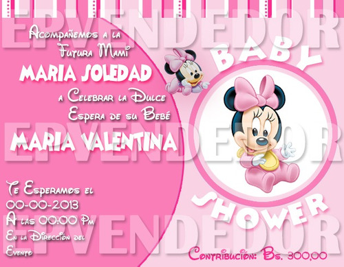 Invitaciones Para Baby Shower De Minnie