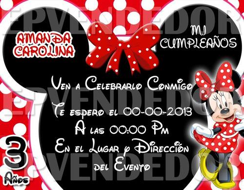 Tarjetas De Cumpleaños De Minnie Mouse Roja Imagui
