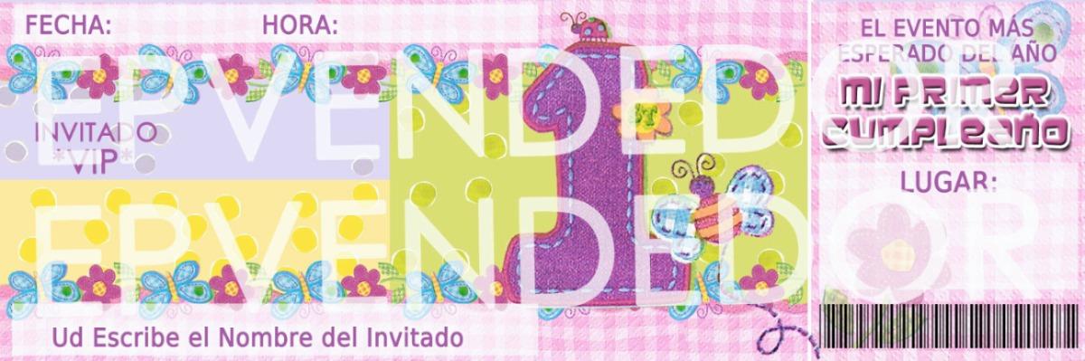 Tarjetas De Invitacion Primer Año Niña Mariposas Y Flores - BsF 12 ...