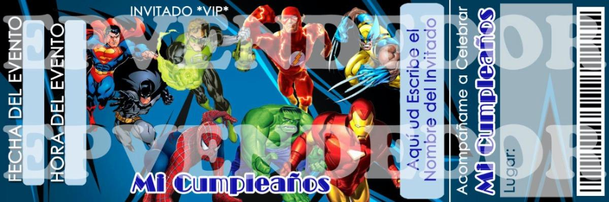 Tarjetas De Invitacion Superheroes - Invitaciones Epvendedor - Bs ...