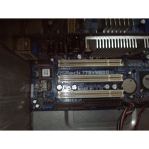 Tarjeta Madre Intel Asrock 775 Vm800 + Procesador, Con Todo!