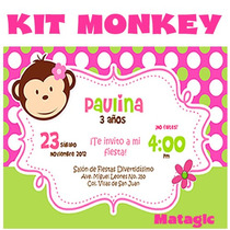 Kit Imprimible Pink Monkey Love Invitaciones Fiesta Baby