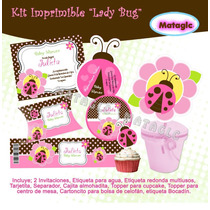 Kit Baby Shower Mariquita Coquito Golosinas Cajas Bautizos