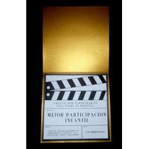 Invitaciones Hollywood Claqueta Edicion Dorada