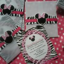 Minnie Mouse Animal Print - 12tarjetas De Invitación Person