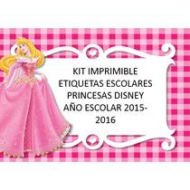 Kit Imprimible Etiquetas Escolares Con Princesas Walt Disney