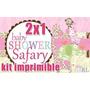 Kit Imprimible Baby Shower Safari Girl 2x1