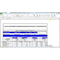 Calculo De Prestaciones,sector De La Construccion,en Excel