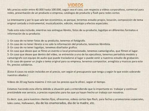 Video, Locucion, Jingle Y Musica. Comercial Y Corporativos