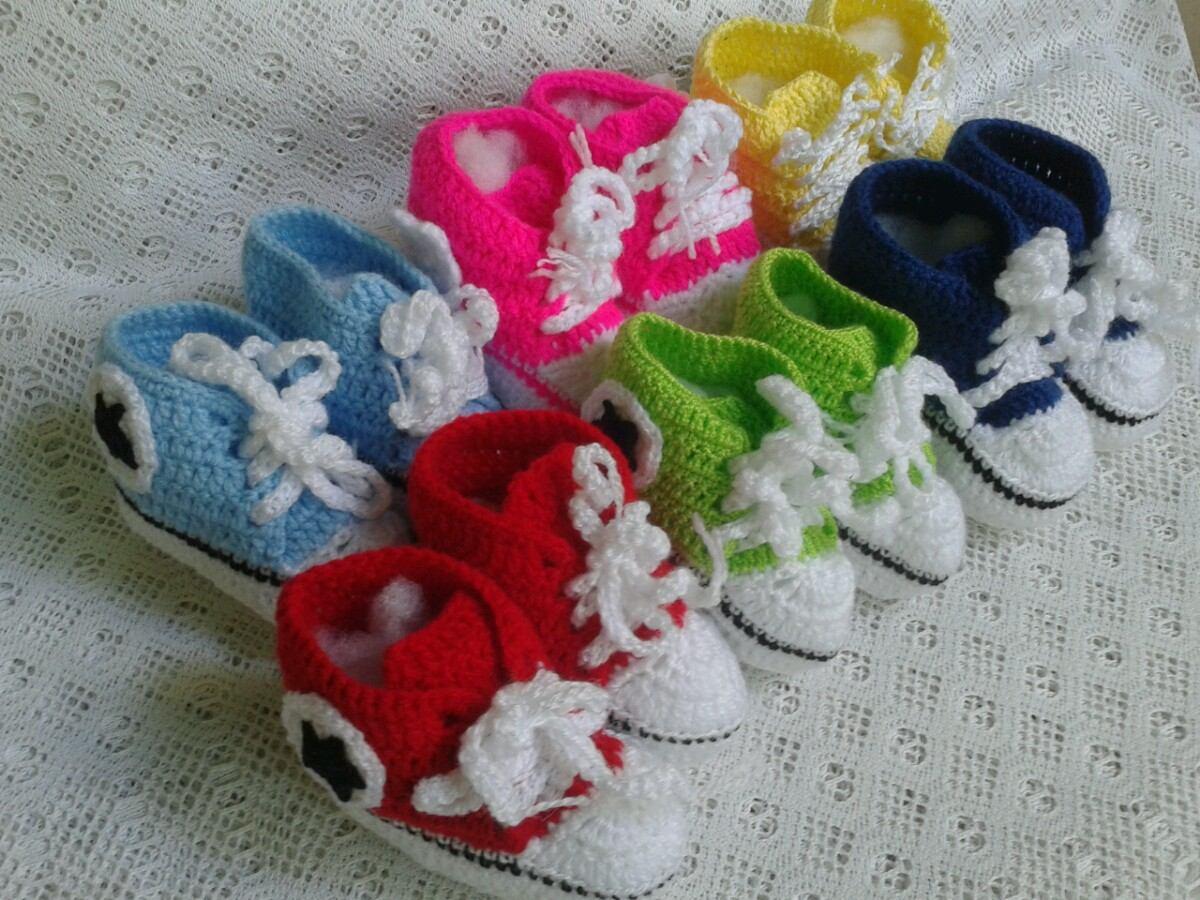 venta de ropa para bebes: zapatos converse tejidos a crochet