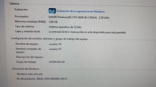 Computadora H61h2-cm Con 2gb De Ram 500gb Disco Monitor 19