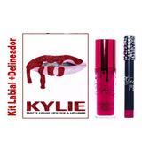 Kit De Labial Liquido + Lapiz Delineador Kylie