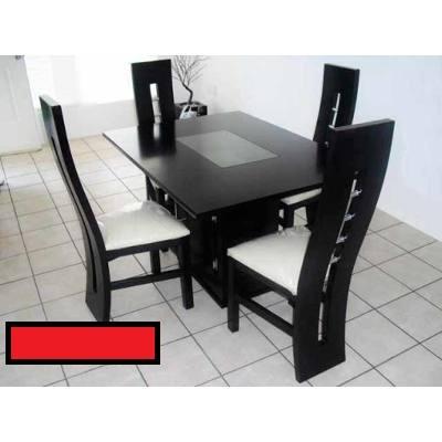 Juego de comedor minimalista moderno de 4 y 6 puestos bs for Comedor 4 puestos madera